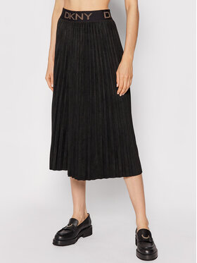 DKNY DKNY Plisovaná sukňa P1GNXCVM Čierna Regular Fit