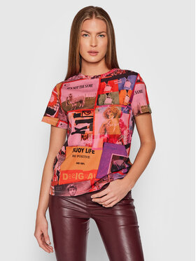 Desigual Desigual T-Shirt Proclaim 21WWTK58 Růžová Regular Fit