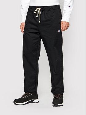 Champion Champion Spodnie materiałowe Straight Leg Cropped Woven 216544 Czarny Regular Fit