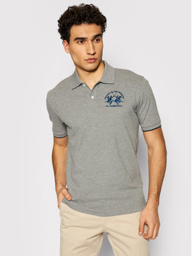La Martina La Martina Polo marškinėliai CCMP01 PK001 Pilka Regular Fit