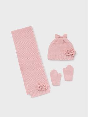 Mayoral Mayoral Комплект шапка, шал и ръкавици 10105 Розов