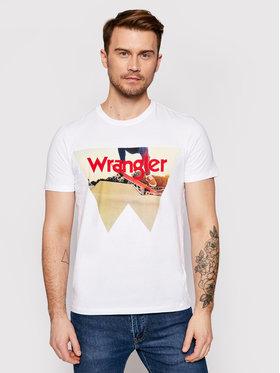 Wrangler Wrangler T-shirt Photo W7G7D3XW1 Blanc Regular Fit