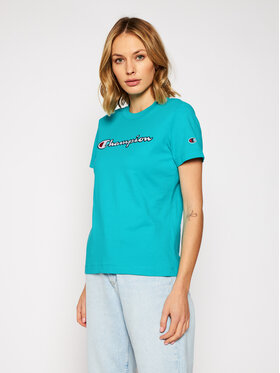 Champion Champion T-Shirt Script Logo 113194 Zielony Regular Fit