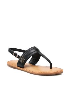 Tommy Hilfiger Tommy Hilfiger Sandały Hardware Th Flat Leather Sandal FW0FW05912 Czarny