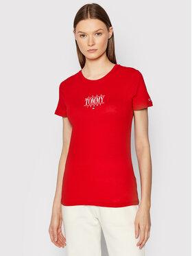 Tommy Jeans Tommy Jeans Marškinėliai Essenstial Logo DW0DW11239 Raudona Skinny Fit