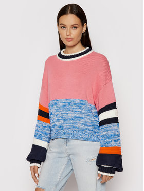 Tommy Jeans Tommy Jeans Pull Colorblock DW0DW10413 Rose Regular Fit