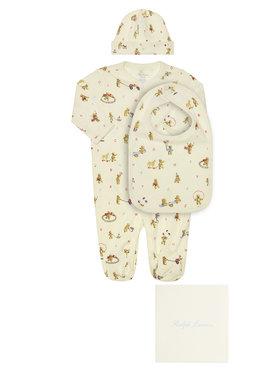 Polo Ralph Lauren Polo Ralph Lauren Komplet śpiochy, czapka i śliniak Seasonal Icon I 320790518001 Biały Regular Fit