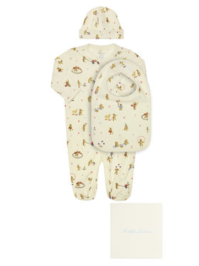 Polo Ralph Lauren Polo Ralph Lauren Σετ φορμάκι, σκουφάκι και σαλιάρα Seasonal Icon I 320790518001 Λευκό Regular Fit