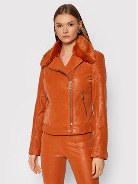 Guess Guess Bunda z imitácie kože Bora W1BL12 WE5V0 Oranžová Extra Slim Fit