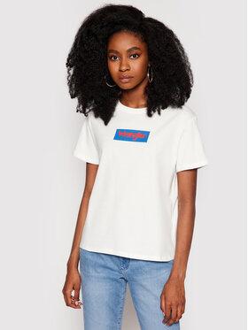 Wrangler Wrangler T-shirt Box Logo W7P3D3737 Bijela Regular Fit