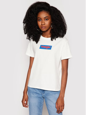 Wrangler Wrangler T-Shirt Box Logo W7P3D3737 Bílá Regular Fit