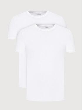 KARL LAGERFELD KARL LAGERFELD 2er-Set T-Shirts Crew Neck 215M2199 Weiß Slim Fit