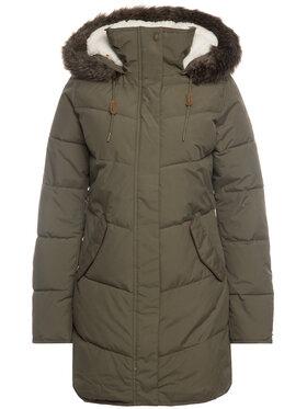 Roxy Vatovaná bunda Ellie Longline ERJJK03289 Zelená Tailored Fit