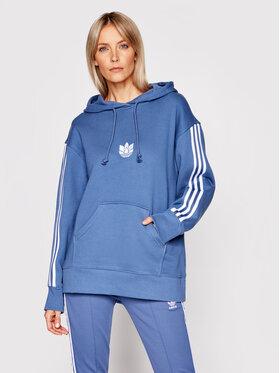 adidas adidas Majica dugih rukava Loungewear adicolor 3D Trefoil GN2948 Plava Oversize
