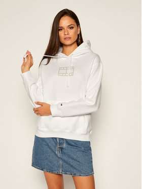 Tommy Jeans Tommy Jeans Mikina Outline Flag DW0DW08985 Bílá Loose Fit
