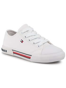 Tommy Hilfiger Tommy Hilfiger Sneakers aus Stoff Low Cut Lace Up Sneaker T3X4-30692-0890 M Weiß