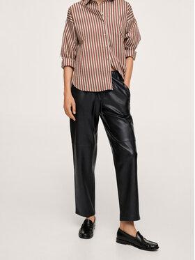 Mango Mango Spodnie skórzane Apple 17055533 Czarny Relaxed Fit