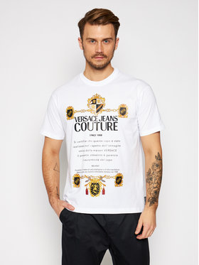Versace Jeans Couture Versace Jeans Couture Тишърт B3GZB7TL Бял Regular Fit