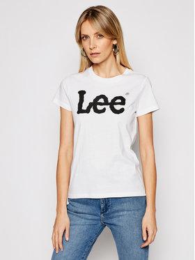 Lee Lee Tričko Logo Tee L42UER12 Biela Regular Fit
