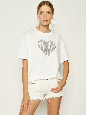 Converse Converse T-Shirt Heart Reverse Print Tee 10018940 Biały Relaxed Fit