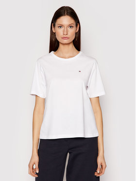 Tommy Hilfiger Tommy Hilfiger Тишърт Glb Stp Open WW0WW30469 Бял Relaxed Fit