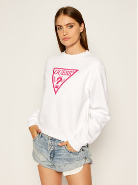 Guess Guess Суитшърт Triangle W0YQ50 K9Z20 Бял Regular Fit