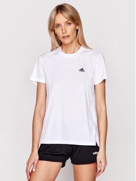 adidas adidas Funkčné tričko Designed 2 Move 3-Stripes GL3812 Biela Regular Fit