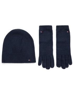 Tommy Hilfiger Tommy Hilfiger Комплект шапка и ръкавици Flag Knit Beanie & Gloves Gp AW0AW07198 Тъмносин