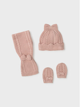 Mayoral Mayoral Комплект шапка, шал и ръкавици 9430 Розов