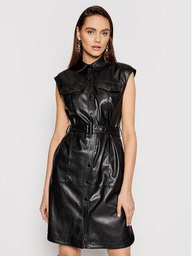 KARL LAGERFELD KARL LAGERFELD Bőr ruha Faux 211W1308 Fekete Regular Fit