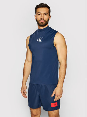 Calvin Klein Swimwear Calvin Klein Swimwear Tank top Muscle KM0KM00612 Tmavomodrá Slim Fit