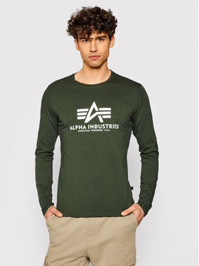 Alpha Industries Alpha Industries Тениска с дълъг ръкав Basic T 100510 Зелен Regular Fit