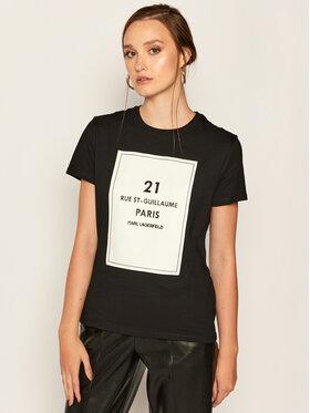 KARL LAGERFELD KARL LAGERFELD T-shirt Square Address Logo 205W1711 Noir Regular Fit