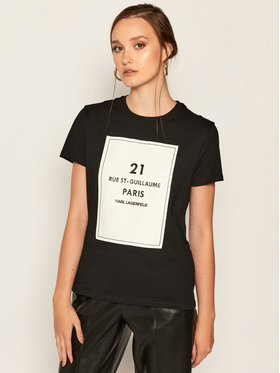 KARL LAGERFELD KARL LAGERFELD T-Shirt Square Address Logo 205W1711 Schwarz Regular Fit