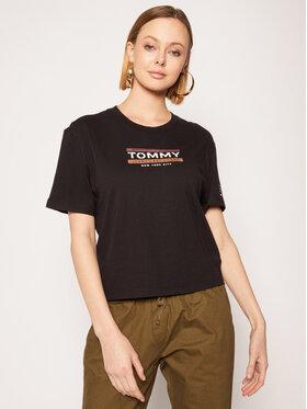 Tommy Jeans Tommy Jeans T-Shirt Sleeve Detail Logo Tee DW0DW08035 Černá Regular Fit