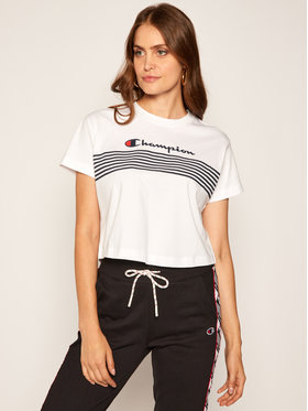 Champion Champion T-Shirt Script Logo Stripe 113098 Bílá Custom Fit