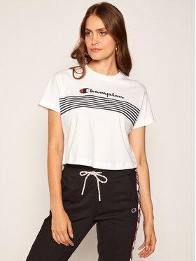Champion Champion T-shirt Script Logo Stripe 113098 Blanc Custom Fit