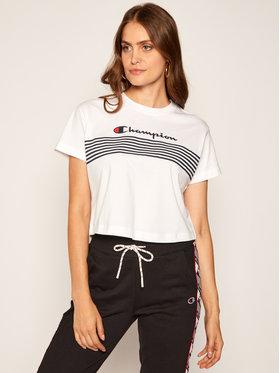 Champion Champion T-Shirt Script Logo Stripe 113098 Weiß Custom Fit