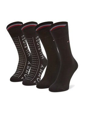 Tommy Hilfiger Tommy Hilfiger Set de 2 perechi de șosete lungi pentru bărbați 100002676 Negru