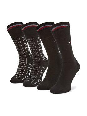 Tommy Hilfiger Tommy Hilfiger Súprava 2 párov vysokých pánskych ponožiek 100002676 Čierna