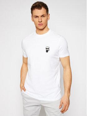 KARL LAGERFELD KARL LAGERFELD T-Shirt Crewneck 755025 511221 Biały Regular Fit