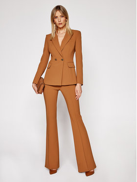 Elisabetta Franchi Elisabetta Franchi Komplet żakiet i spodnie materiałowe TP-001-06E2-V629 Brązowy Slim Fit