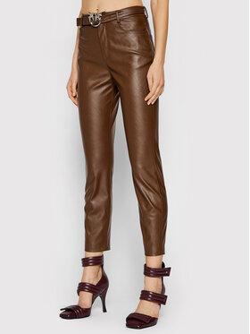 Pinko Pinko Kalhoty z imitace kůže Susan 15 1G16WU 7105 Hnědá Skinny Fit