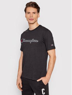 Champion Champion T-Shirt Organic Cotton Script Logo 216473 Czarny Comfort Fit