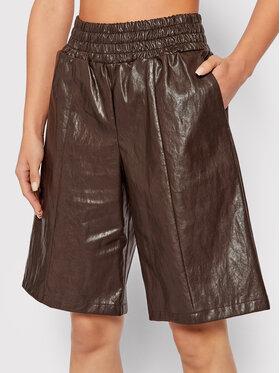 Pinko Pinko Spodnie z imitacji skóry Studiare 1Q10B6 Y7N6 Brązowy Regular Fit