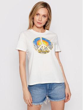 Wrangler Wrangler T-shirt High Rib W7N9GHW05 Bež Regular Fit