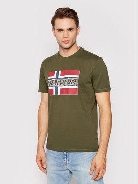 Napapijri Napapijri T-shirt Sench NP0A4FRR Verde Regular Fit