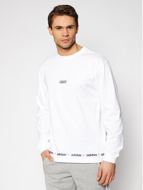 adidas adidas Manches longues Linear Repeat GN3880 Blanc Regular Fit