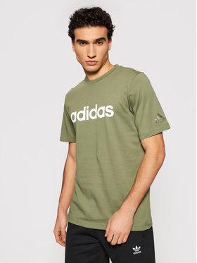 adidas adidas Tričko Essentials Embroidered Linear Logo GL0059 Zelená Regular Fit