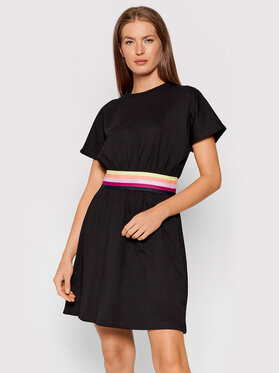 KARL LAGERFELD KARL LAGERFELD Každodenní šaty Logo Tape 215W1352 Černá Regular Fit
